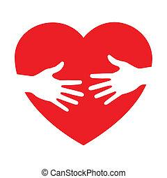 törődik, szív, ikon, kézbesít