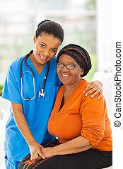 törődik, türelmes, afrikai, idősebb ember, ápoló