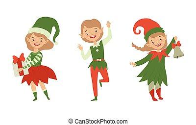 törpék, gyűjtés, manó, karácsony, betűk, karikatúra, gyerekek, karácsony, jelmezbe öltöztet, csinos, szent, ábra, vektor, pártfogók, klaus