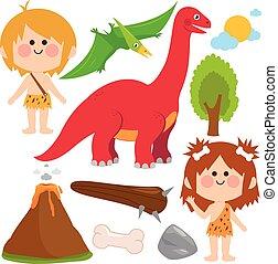 történelem előtti, cavemen, collection., dinosaur., ábra, vektor, gyerekek
