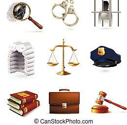 törvény, állhatatos, jogi, ikonok