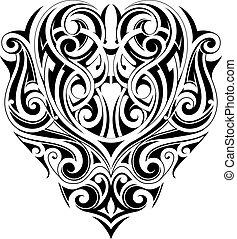 törzsi, szív, tetovál, alakít, művészet