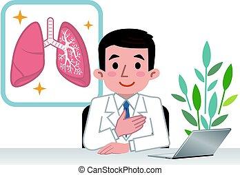 tüdő, orvos, magyarázó