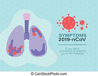 tüdő, vírus, tervezés, vektor, 2019, ncov