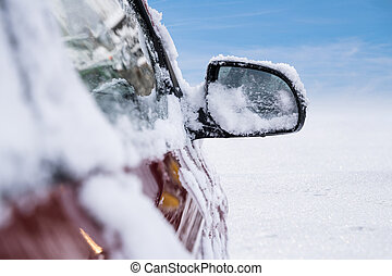 tükör, autó, hó megtesz