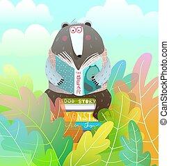 tündér, gyerekek, ülés, szórakoztató, hord, felolvasás, erdő, színes, kazal, mese, előjegyez, cartoon.