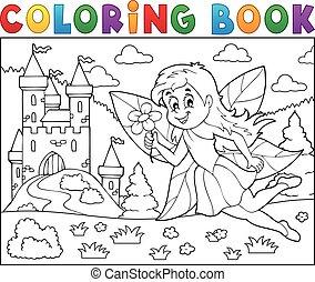 tündér, könyv, bástya, színezés