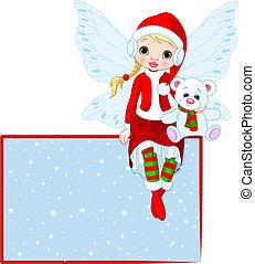 tündér, karácsonyi üdvözlőlap, állás