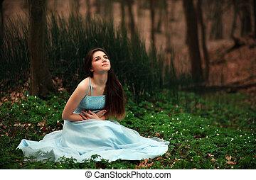 tündér, leány, blue ruha, fiatal, romantikus, félhomály, hosszú