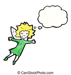 tündér, repülés, karikatúra, leány