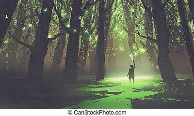 tündérmese, egyedül, bábu van, fáklya, erdő
