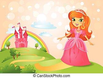 tündérmese, hercegnő, bástya, gyönyörű