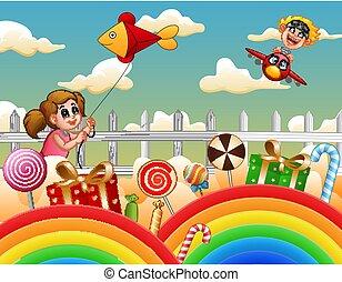 tündérország, ábra, gyerekek, boldog, játék