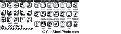 tünetek, alapvető, lépés, coronavirus, covid-19, oltalmazó, betegség