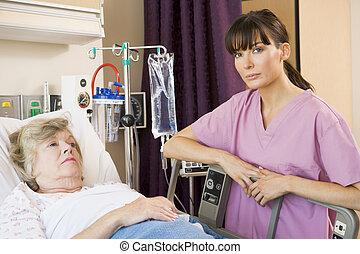 türelmes, átvizsgálás, kórház, feláll, ágy, ápoló, fekvő
