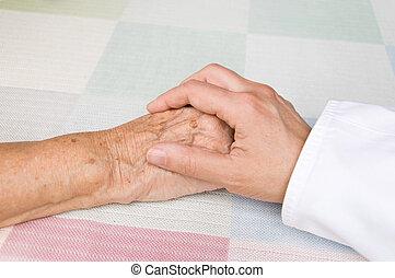 türelmes, öregedő, orvos