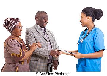 türelmes, afrikai, kezezés reszkető, ápoló, idősebb ember