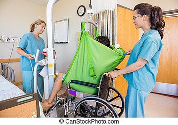 türelmes, betegápolók, tolószék, átadó, hydraulic segítség
