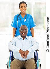 türelmes, egészség, afrikai, törődik, idősebb ember, munkás