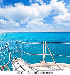 türkiz, idillikus, tropikus, y, tengerpart, vasmacska, csónakázik