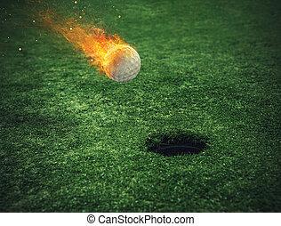 tüzes, fű, golf, mező, labda, kilyukaszt