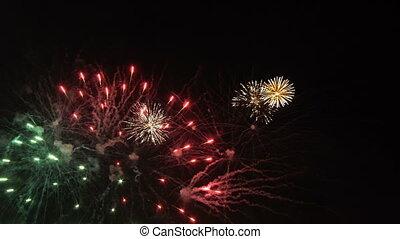 tűzijáték, ég, éjszaka