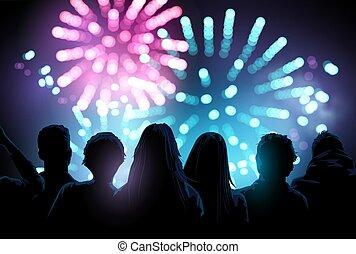 tűzijáték, csoport, őrzés, bemutatás, nagy, emberek
