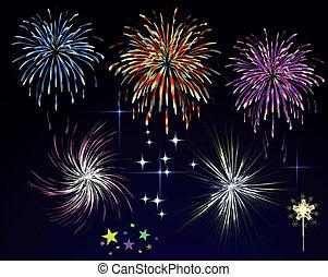 tűzijáték, sky., vektor, éjszaka, ünnep, üdvözöl