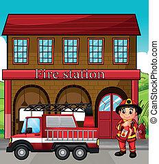 tűzoltó állomás, csereüzlet, tűzoltó