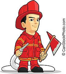 tűzoltó, karikatúra, fiú