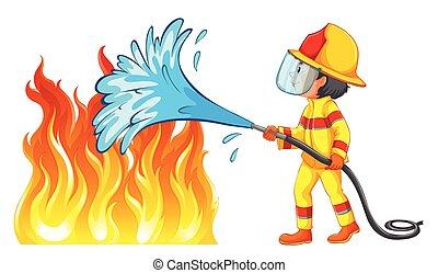 tűzoltó, ki, elbocsát, feltétel