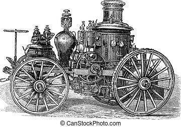 tűzoltóautó, amoskeag, szüret, metszés, steam-powered