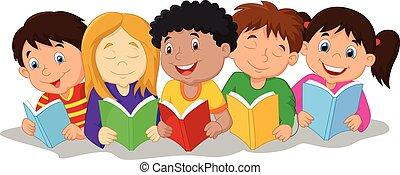 t, boldog, gyerekek, karikatúra, ülés