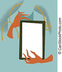 tablet., orvosi, illustration., birtok, orvos
