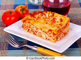 tabletop, lasagna, tányér