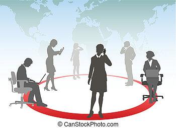 tabletta, ügy emberek, média, laptop, telefon, számítógép, összekapcsol, érint, furfangos, hálózat