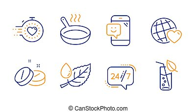 tabletta, barátok, set., szolgáltatás, ikonok, levél növényen, sütés, harmat, világ, 24/7, signs., orvosi, vektor, időzítő, lábas