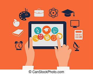 tabletta, concept., icons., megható, vector., kézbesít, e-learning, oktatás