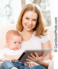 tabletta, dívány, számítógép, anya, csecsemő, otthon