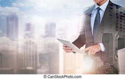 tabletta, dolgozó, előadás, megkettőz, modern, üzletember, számítógép, társadalmi, új, kitevés, szerkezet, hálózat