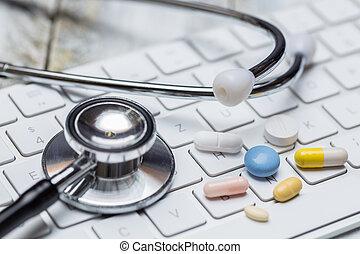 tabletta, különböző, fogalom, sztetoszkóp, billentyűzet
