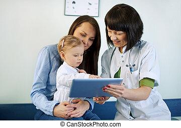 tabletta, orvos, orvosi, anya, eredmények, kiállítás
