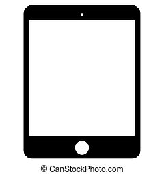 tabletta, vektor, black háttér, fehér, ikon