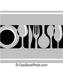 tableware:fork, , kés, tányér, szürke, pohár