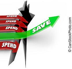 takarékbetét pénz, vs, költ, jövő, felkelés, nyíl, megment, befektetés