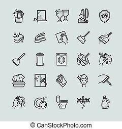 takarítás, állhatatos, -, áttekintés, ikonok