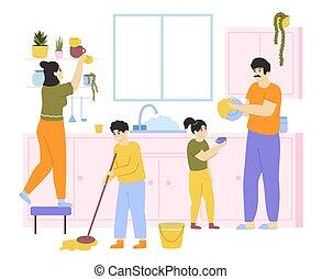 takarítás, cleaning., vektor, gyerekek, mosás, együtt, házimunkák, család, háztartás, ábra, házimunka, house., belföldi