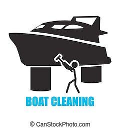 takarítás, csónakázik