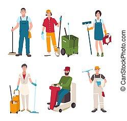 takarítás, lakás, különböző, nő, mosás, broom., emberek, set., seprű, ábra, felszerelés, ablak, vektor, floor., tisztító, ember, gép, gondnok, style., csavaralátét