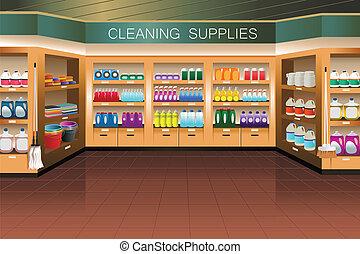 takarítás, szakasz, élelmiszerbolt, store:, beszerzés